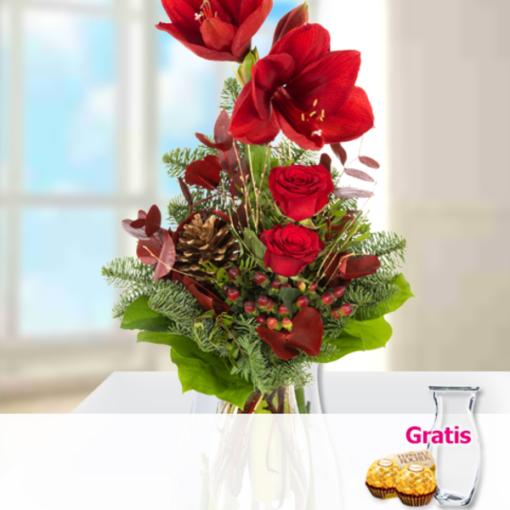 """Angebot von 123Blumenversand.de: """"Blumenstrauß Frohes Fest mit Vase & 2 Ferrero Rocher"""" ab 19.99 EUR"""