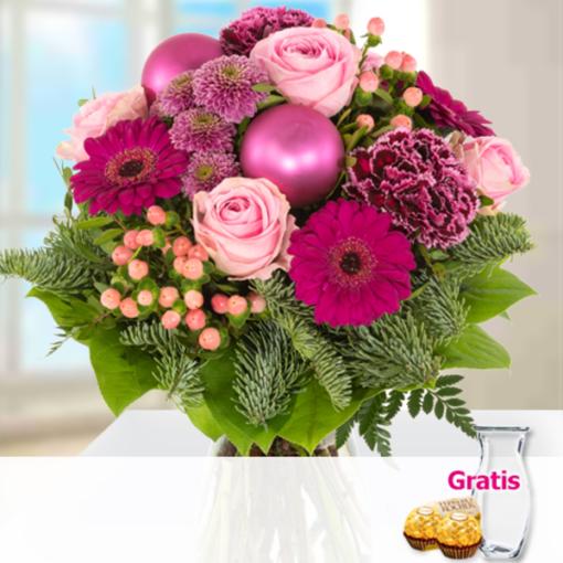 """Angebot von 123Blumenversand.de: """"Blumenstrauß Jingle Bells mit Vase & 2 Ferrero Rocher"""" ab 22.99 EUR"""