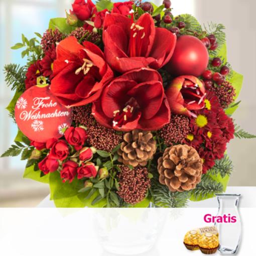 """Angebot von 123Blumenversand.de: """"Blumenstrauß Merry Christmas mit Vase & 2 Ferrero Rocher"""" ab 22.99 EUR"""