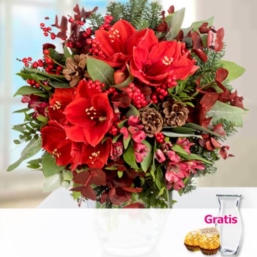 """Angebot von 123Blumenversand.de: """"Blumenstrauß Weihnachtsstern mit Vase & 2 Ferrero Rocher"""" ab 27.99 EUR"""