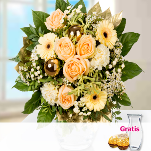 """Angebot von 123Blumenversand.de: """"Blumenstrauß Winterglück mit Vase & 2 Ferrero Rocher"""" ab 32.99 EUR"""