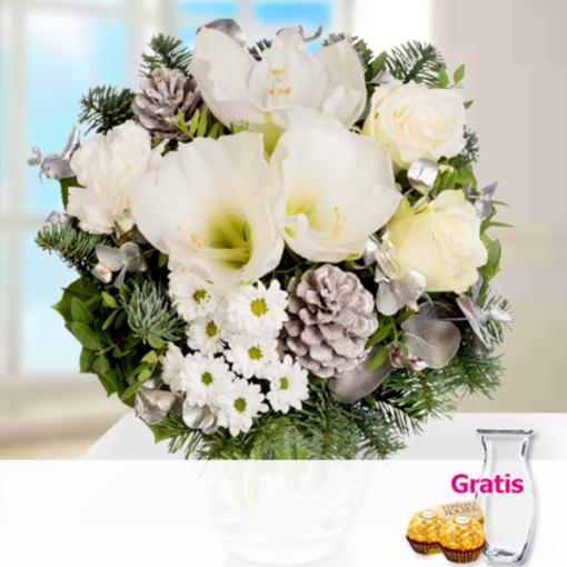 """Angebot von 123Blumenversand.de: """"Blumenstrauß Winterlicht mit Vase & 2 Ferrero Rocher"""" ab 19.99 EUR"""