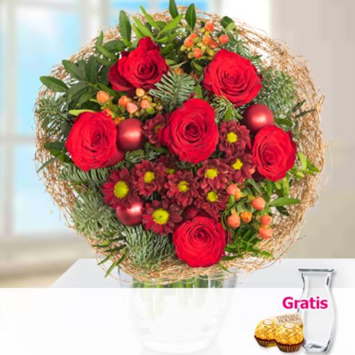 """Angebot von 123Blumenversand.de: """"Blumenstrauß Winterstimmung mit Vase & 2 Ferrero Rocher"""" ab 21.99 EUR"""