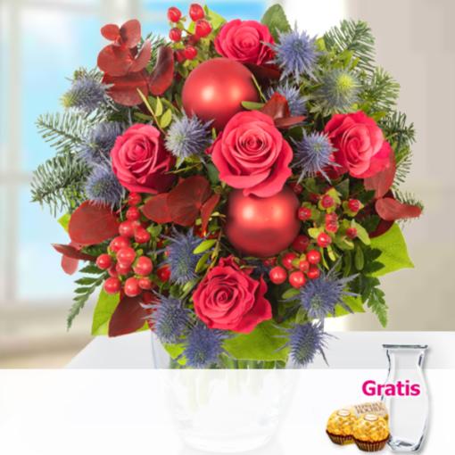 """Angebot von 123Blumenversand.de: """"Blumenstrauß Wintersymphonie mit Vase & 2 Ferrero Rocher"""" ab 22.99 EUR"""